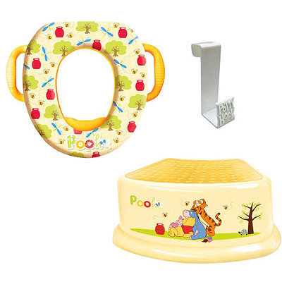Disney - Winnie the Pooh Soft Potty Seat, Step Stool and Potty Hook