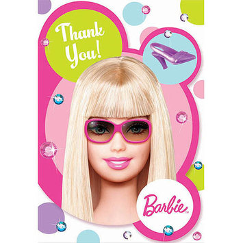 Amscan 160102 Barbie All Doll d Up Thank You Cards- 8 count