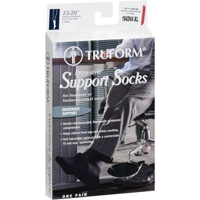 Truform Men's Navy Support Socks, X-Large, 1ct