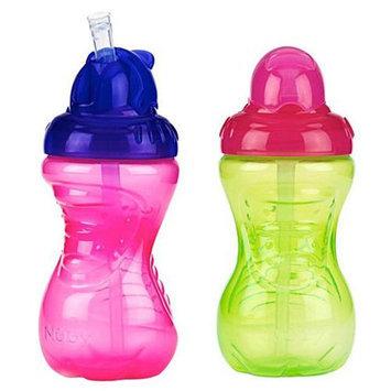 Nuby No-Spill Flip-It Straw Cup - 10 oz - 2 Pk