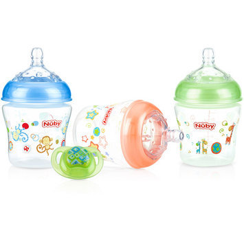 Nuby Natural Touch 3pk 6oz Printed Bottle with Comfort Printed
