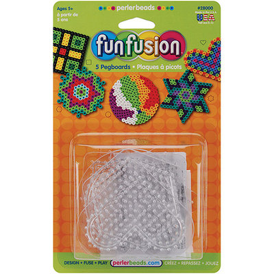 Wmu Perler Fun Fusion Bead Pegboards 5-Pack, Clear Shapes