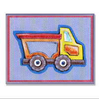 The Kids Room Yellow & Orange Dump Truck Blue Stripe Wall Plaque