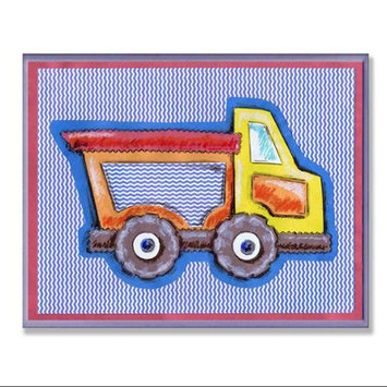 The Kids Room Yellow & Orange Dump Truck Blue Stripe Wall Plaque