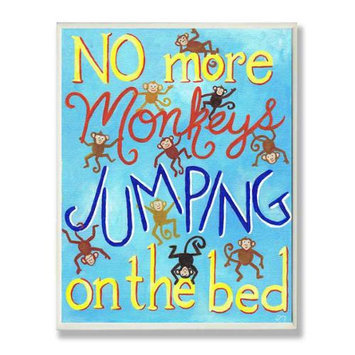 The Kids Room Wall Plaque - No More Monkeys Jumping