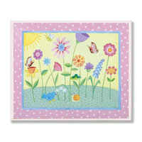 The Kids Room Flowers with Pink Polka Dot Border Wall Plaque