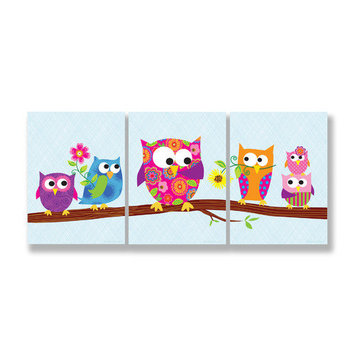 Stupell Industries Kids Room Triptychs Owls on Branch Wall Plaques
