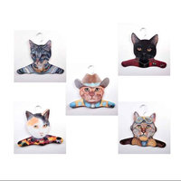 Stupell Industries Animal Gray / Calico / Cowboy / Black / Pilot Cat Clothing Hanger (Set of 5)