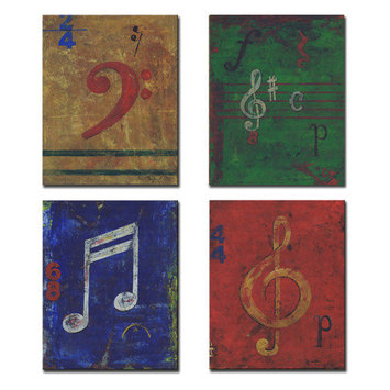 Stupell Industries Kids Room Distressed Musical Notes Wall Plaques (Set of 4)