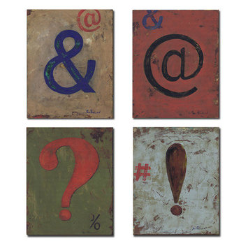 Stupell Industries Kids Room Distressed Punctuation Wall Plaques (Set of 4)