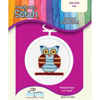 Janlynn 998-5038 Owl Mini Counted Cross Stitch Kit-2-1/2 18 Count