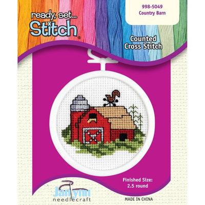 Janlynn 998-5049 Barn Mini Counted Cross Stitch Kit-2-1/2 Round 18 Count