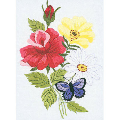 Janlynn 280861 Butterfly Floral Embroidery Kit5 in. x 7 in. Stitched In Floss