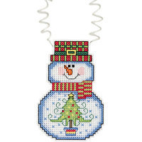 Janlynn Holiday Wizzers Snowman With Tree Counted Cross Stitch Kit-3 X2-1/4 14 Count