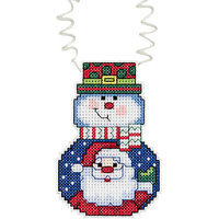 Janlynn 444735 Holiday Wizzers Snowman With Santa Counted Cross Stitch Kit3 in. x 2.25 in. 14 Count