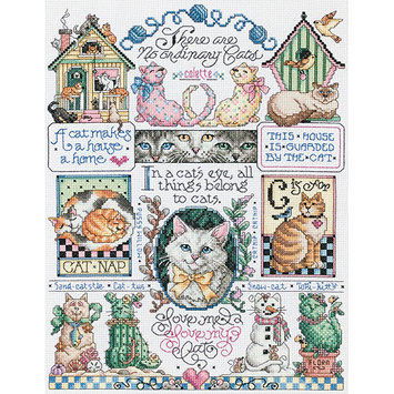 JANLYNN Cats, Cats, Cats Counted Cross Stitch Kit (11