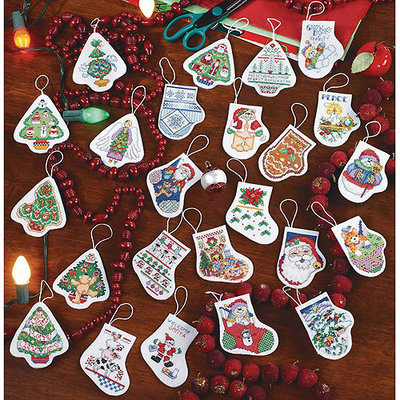 Janlynn Festive Ornaments Counted Cross Stitch Kit-2-1/2 Set Of 24 14 Count