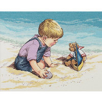 Janlynn 280932 Seashore Fun Counted Cross Stitch Kit13.75 in. x 10.75 in. 14 Count