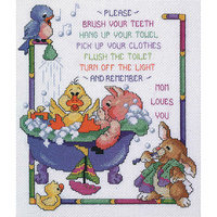 Janlynn Bath Time Rules Counted Cross Stitch Kit-10 X12 14 Count
