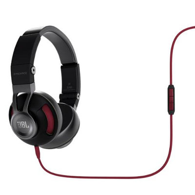 JBL Synchros S300a On-Ear Headphones with Universal In-line Mic and Controls (Black/Red)