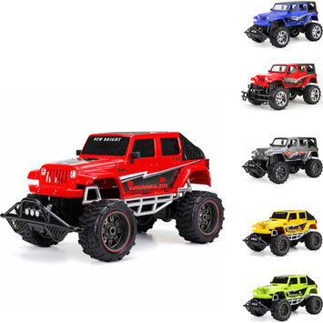 New Bright 1:8 Radio Control Full-Function 9.6V 4-Door Jeep (Blue, Red, Gray) & Open Back 4-Door Jeep (Red, Yellow, Green)