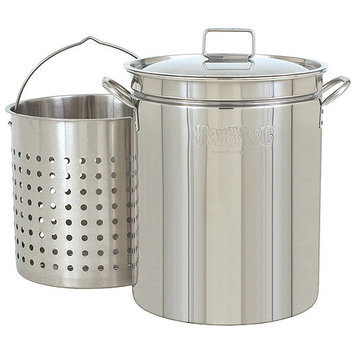 Bayou Classic Steam Boil Stainless Steel Stockpot with Basket