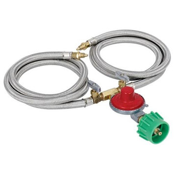 Barbour M2HPH Preset Regulator with Dual Brass Control Valves and 36 in. Propane Hoses