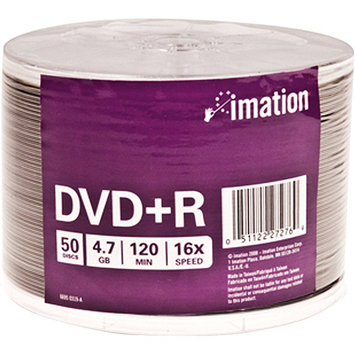 Imation 27276 DVD Recordable Media - DVD+R - 16x - 4.70GB - 50 Pack Shrink Warp