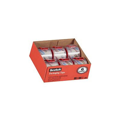 Scotch - 3850 Shipping Packaging Tape, 2 x 27.7YD - 6 Rolls w/Dispensers
