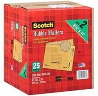 Scotch Bubble Mailers, 25 Pack
