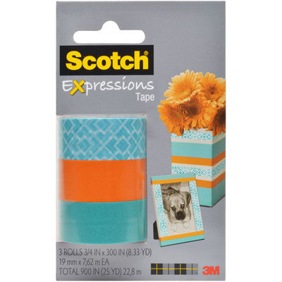 Scotch(R) Expressions Tape, 3/4in. x 300in, Classic Triangle/Blue/Orange, Pack Of 3