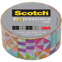 Scotch(R) Expressions Tape With Dispenser, 3/4in. x 300in, Glyphs