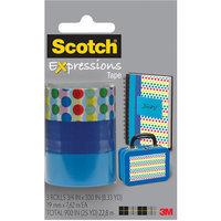 Scotch(R) Expressions Tape, 3/4in. x 300in, Dots/Blue/Turquoise, Pack Of 3