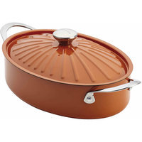 Rachael Ray 16287 Cucina Oven-To-Table Hard Enamel Nonstick 5-Quart Covered Oval Sauteuse Pumpkin Orange