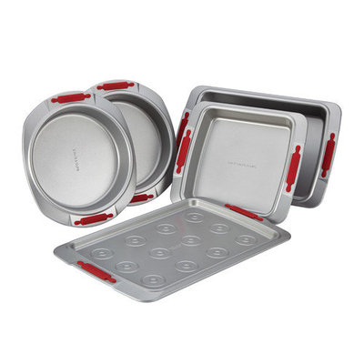 Cake Boss Deluxe Nonstick Bakeware 5-pc. Bakeware Set with Red Silicone Grips