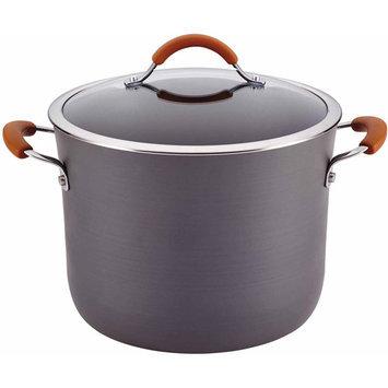 Rachael Ray Cucina Hard-Anodized Nonstick 10-Quart Covered Stockpot, Gray with Pumpkin Orange Handles