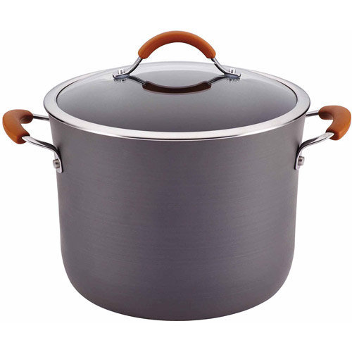 Rachael Ray Cucina Hard-Anodized Nonstick 10-Quart Covered Stockpot, Gray with Pumpkin Orange Handles