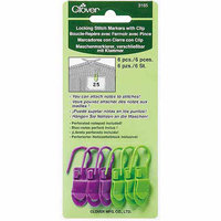 Clover Locking Stitch Markers with Clip, 6pk