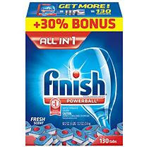 Finish Powerball Tabs Dishwasher Detergent, Fresh Scent, (130ct.)