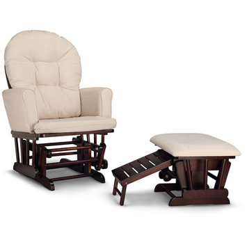 Storkcraft Graco Parker Semi-Upholstered Glider and Nursing Ottoman - Espresso with Beige Cushions