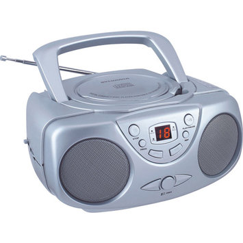 Sylvania SRCD243 Portable CD Player with AM/FM Radio Boombox (Silver)
