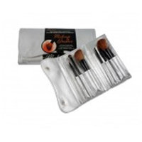 Danielle D142 6 PC Fold Tote Make-Up Brush Set - Silver