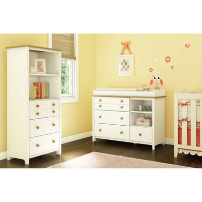 Southshore Little Smileys Storage Unit, Pure White & Harvest Maple