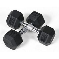 J/fit J Fit 20-6515-2 Rubber Dumbbells 15lb Pair