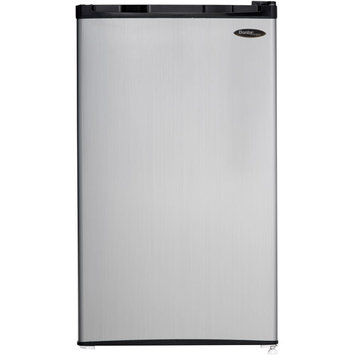Danby DCR032C1BSLDD Compact Refrigerator with 3.2 cu. ft. Capacity Manual Defrost Environmentally Friendly Refrigerant Reversible Door Handle Smudge Resistant