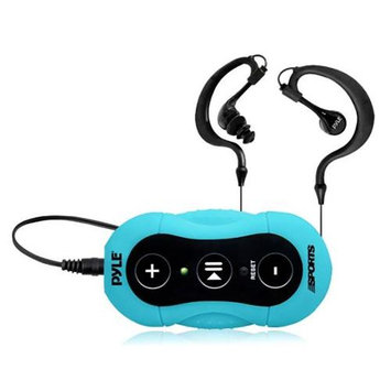 Pyle 4GB Surf Sound Waterproof MP3 Player with Headphones for Swimming & Water Sports, Blue
