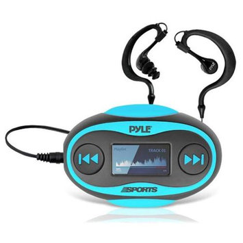 Pyle PSWP25 4GB Waterproof MP3 Player/FM Radio with Pedometer, Lap Counter, Stop Watch, LCD Display, Blue