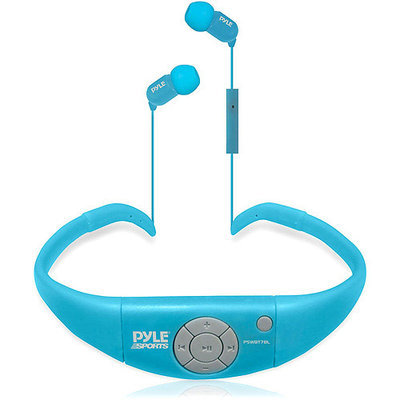 Pyle Audio Active Sport Waterproof Bluetooth Hands Free Wireless Stereo Headphones and Headset with Built in Microphone for Call Answering (Blue)