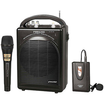 PylePro PWMA200 Rechargeable Portable PA System with Wireless Lavalier-Headset MIC and 1 Wired Mic