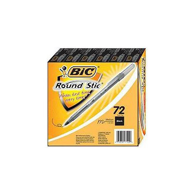 BIC - Round Stic Ballpoint Pen, Black Ink, Medium - 72 Pens